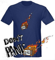 Don't Panic T-shirt on Cafe Press